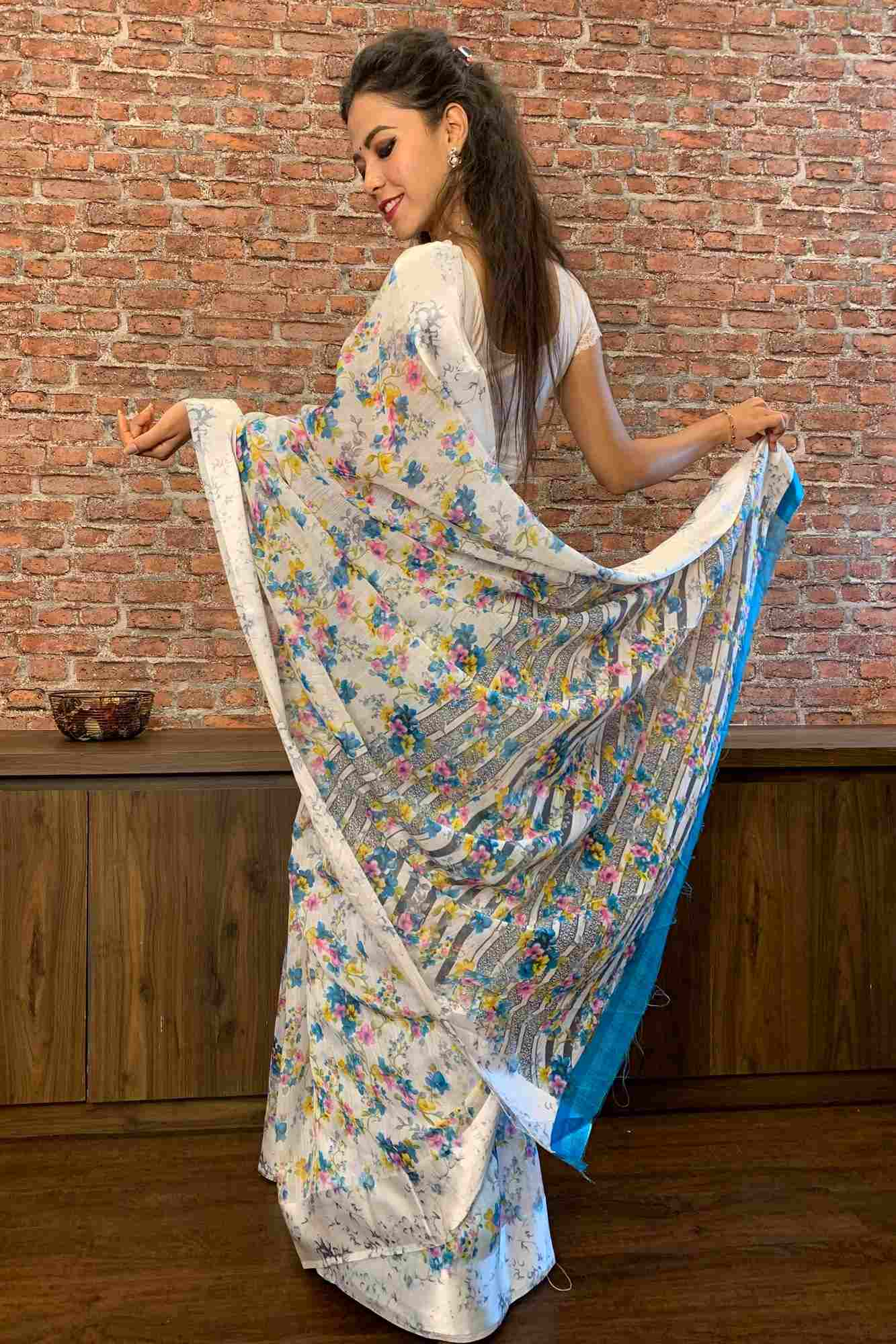 Digital linen printed little flowers wrap in 1 minute saree