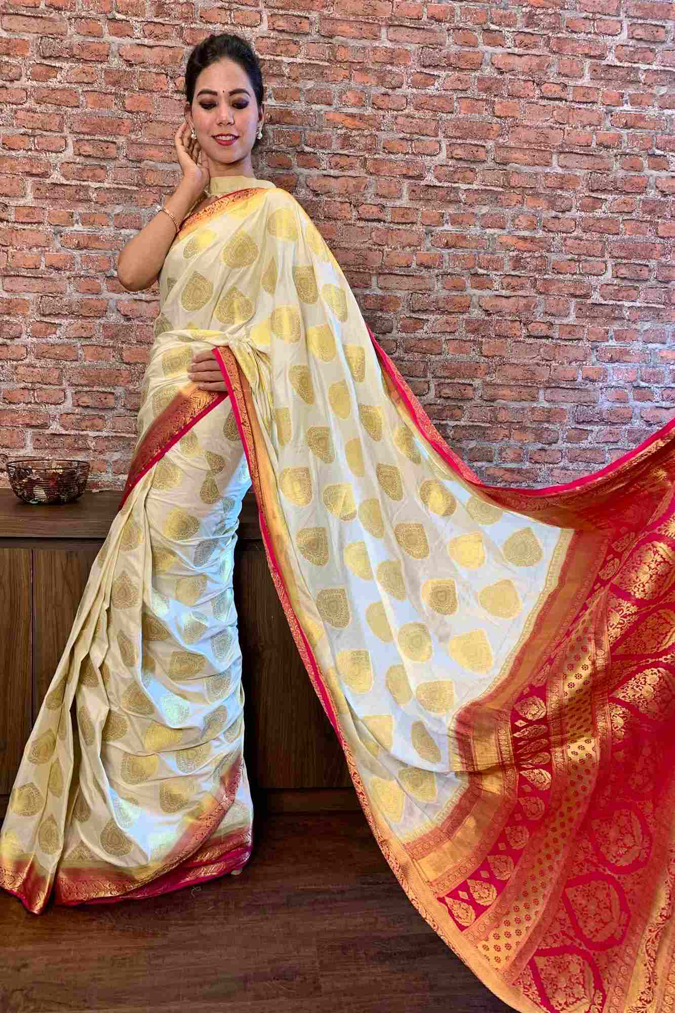 Mysore silk crepe with woven zari butis wrap in 1 minute saree
