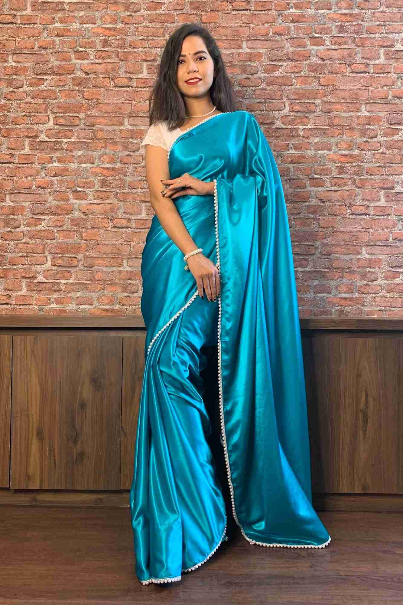 Blue satin with moti lace wrap in 1 minute saree