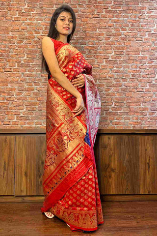 Banarasi meets Baluchari festive wrap in 1 minute saree