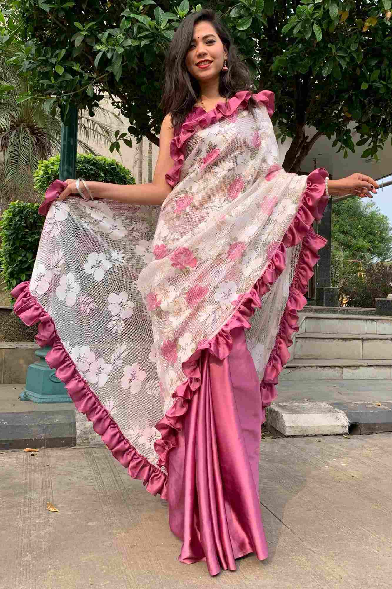 Designer ruffle with sequin net & satin silk wrap in 1 minute saree