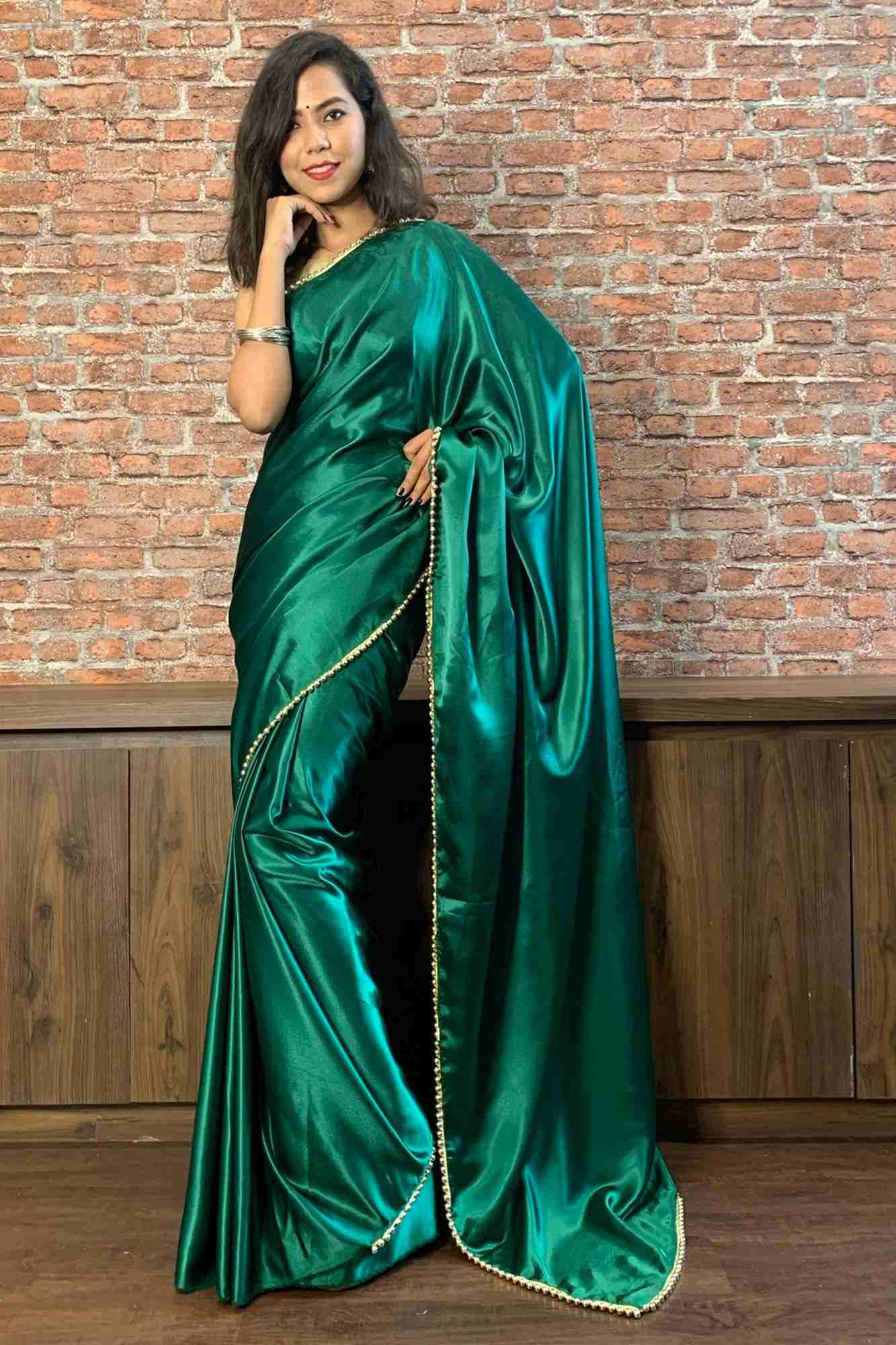 Satin with moti lace border wrap in 1 minute saree