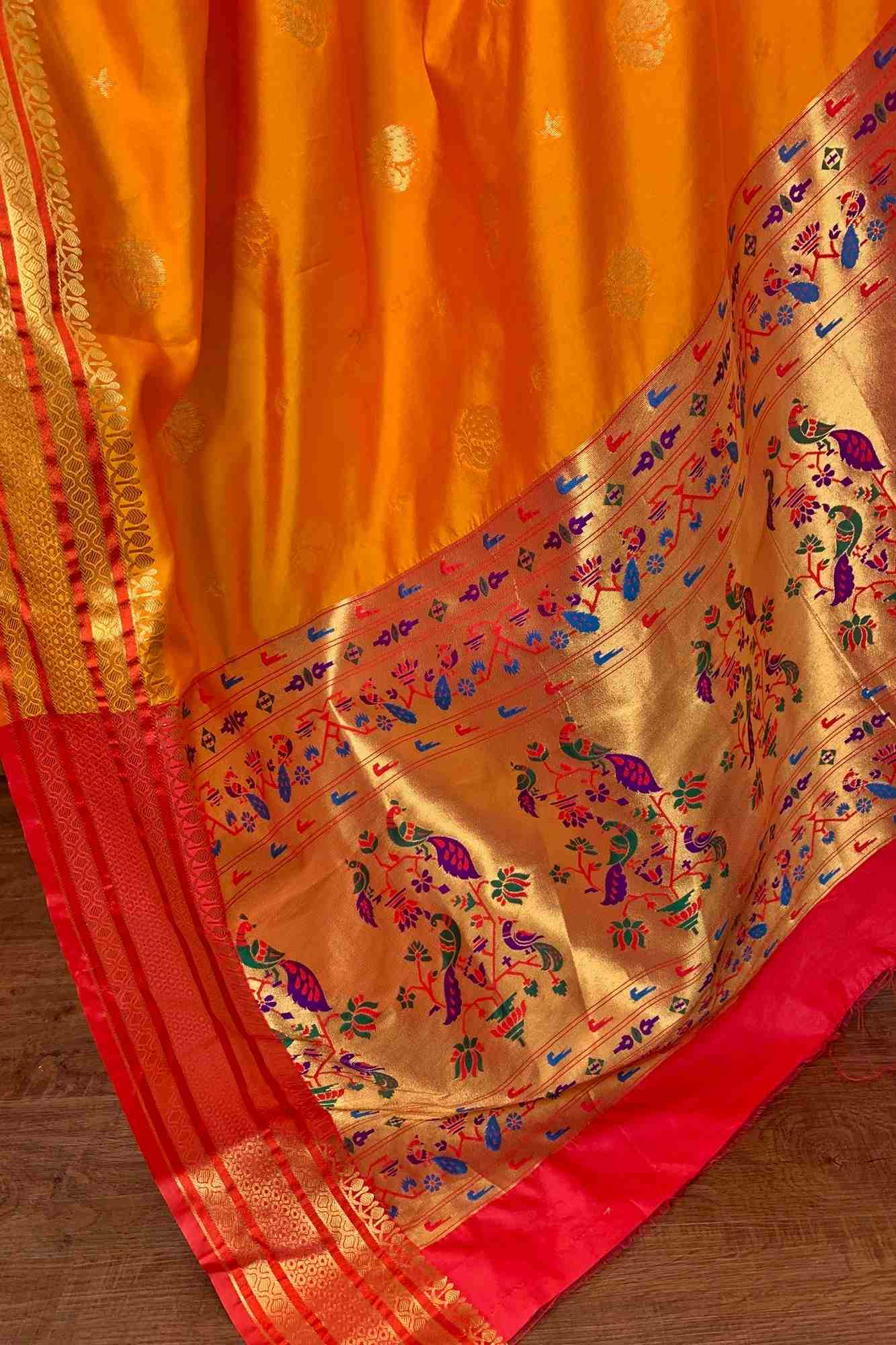 Paithani art silk wrap in 1 minute saree