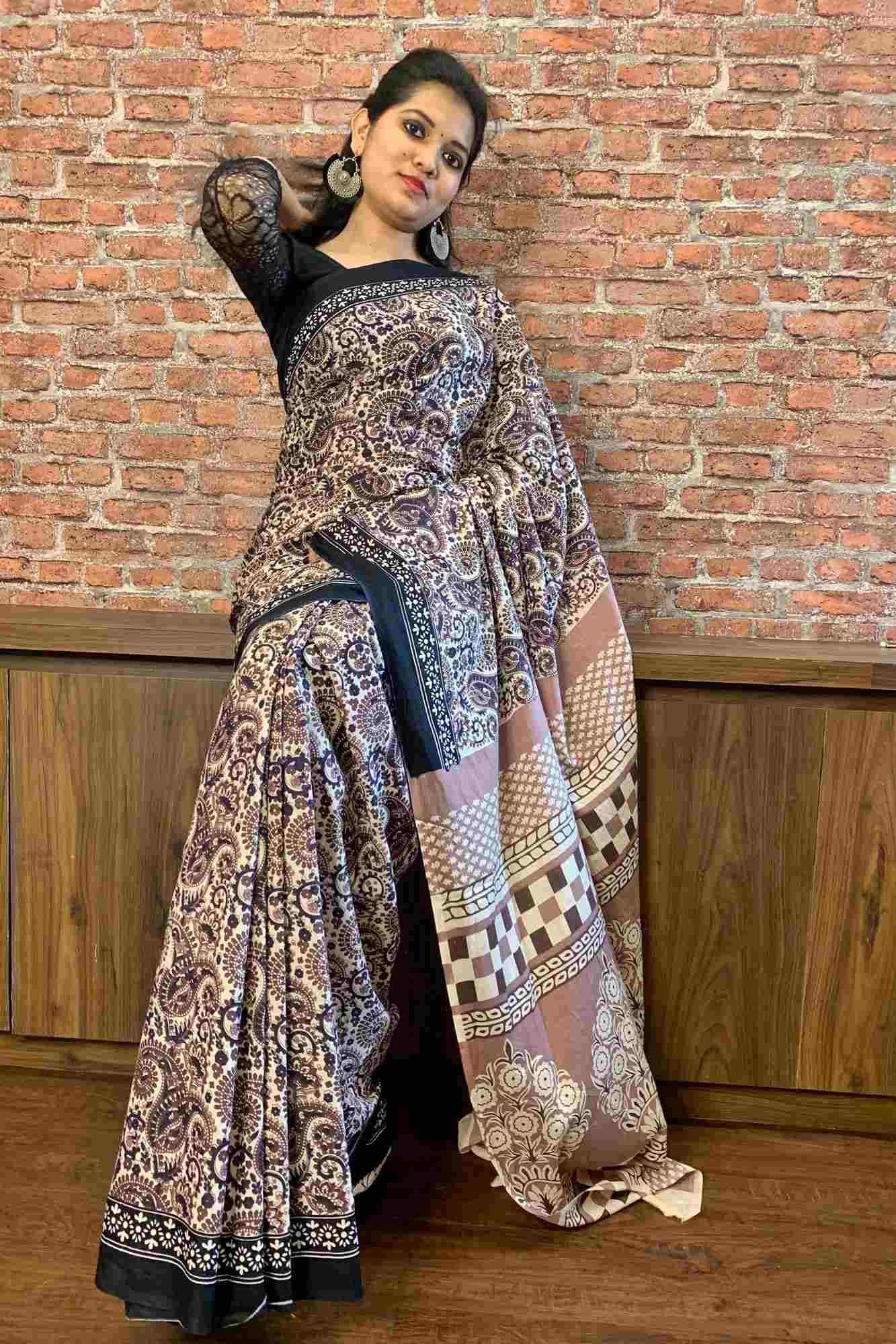 Mul mul Jaipuri print wrap in 1 minute saree