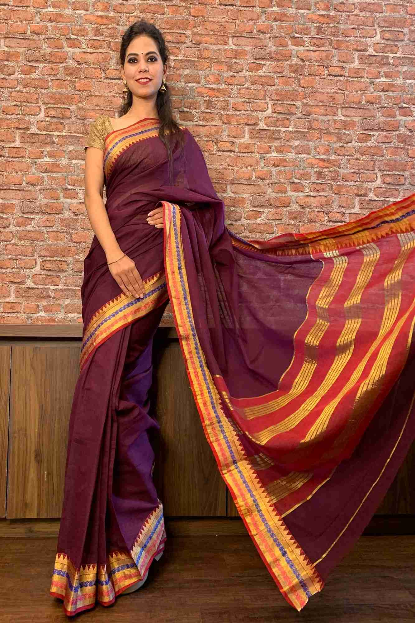 South cotton wrap in 1 minute saree