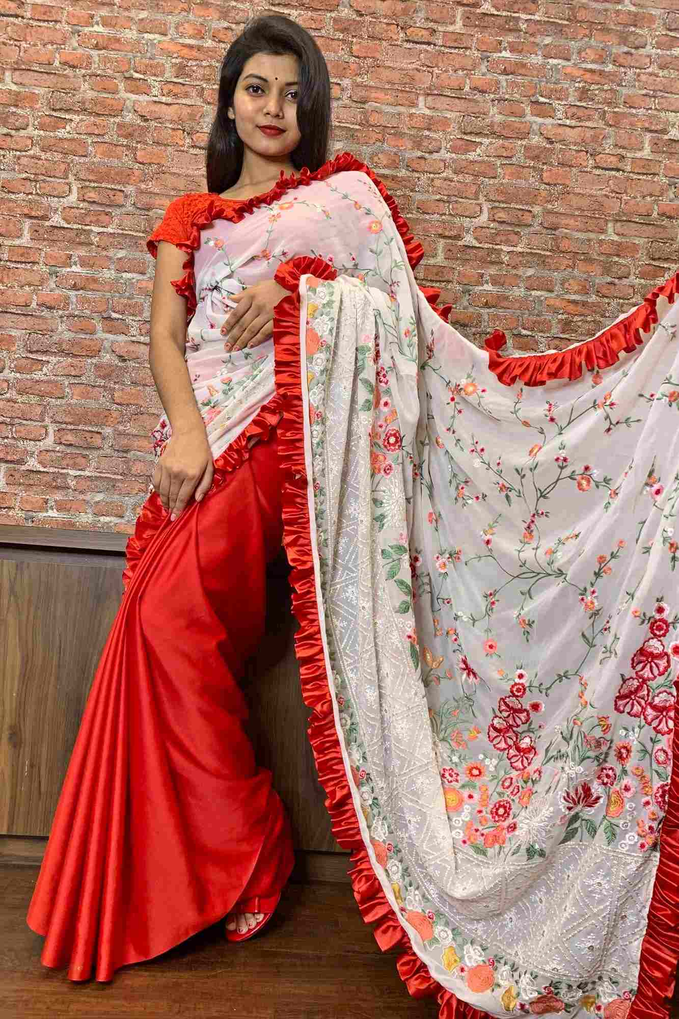 Designer Ruffles White n red georgette embroidered pallu with satin pleats wrap in 1 minute saree - only prepaid orders