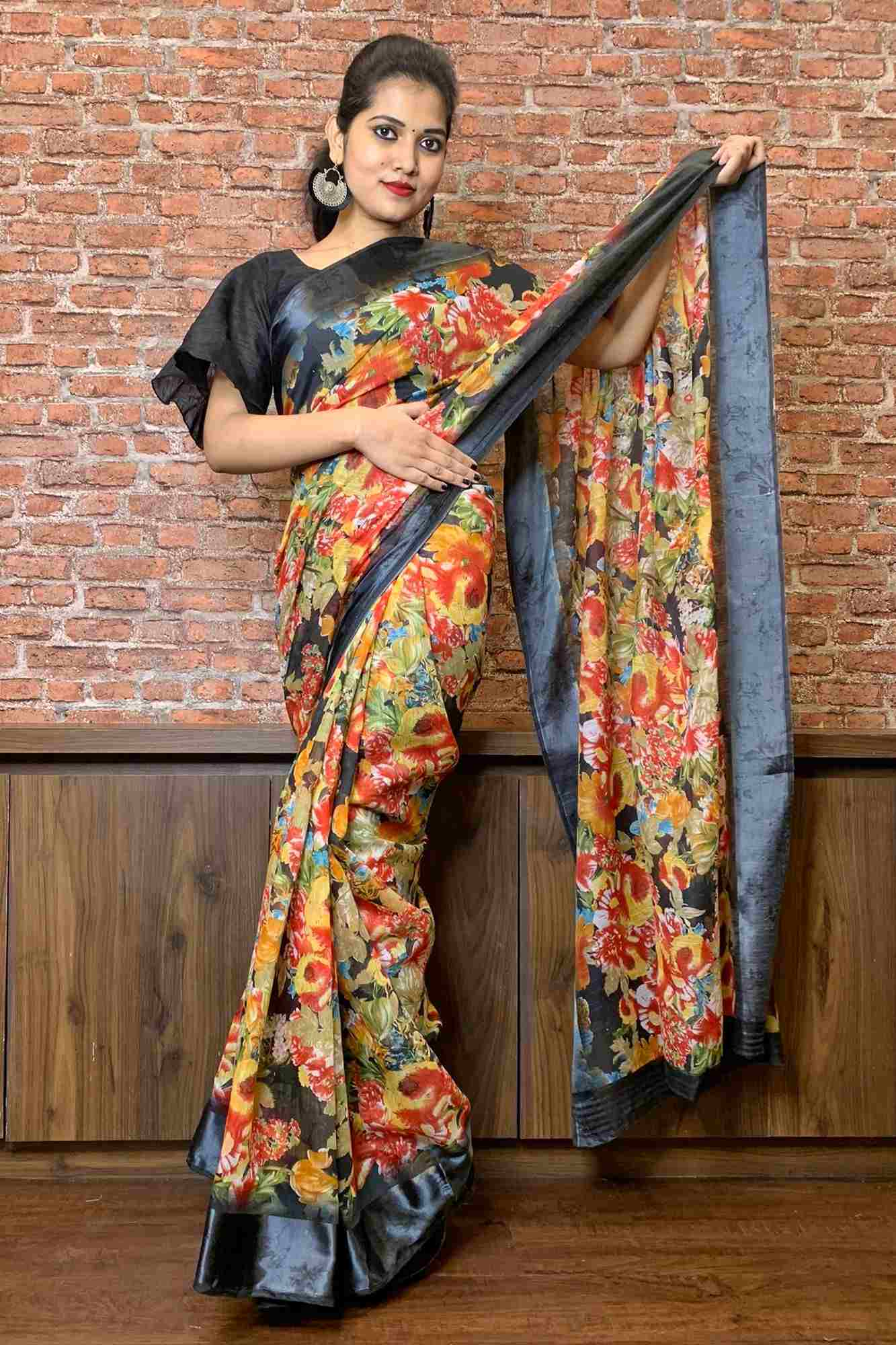 Floral digital printed cotton silk wrap in 1 minute saree - End of Season Sale