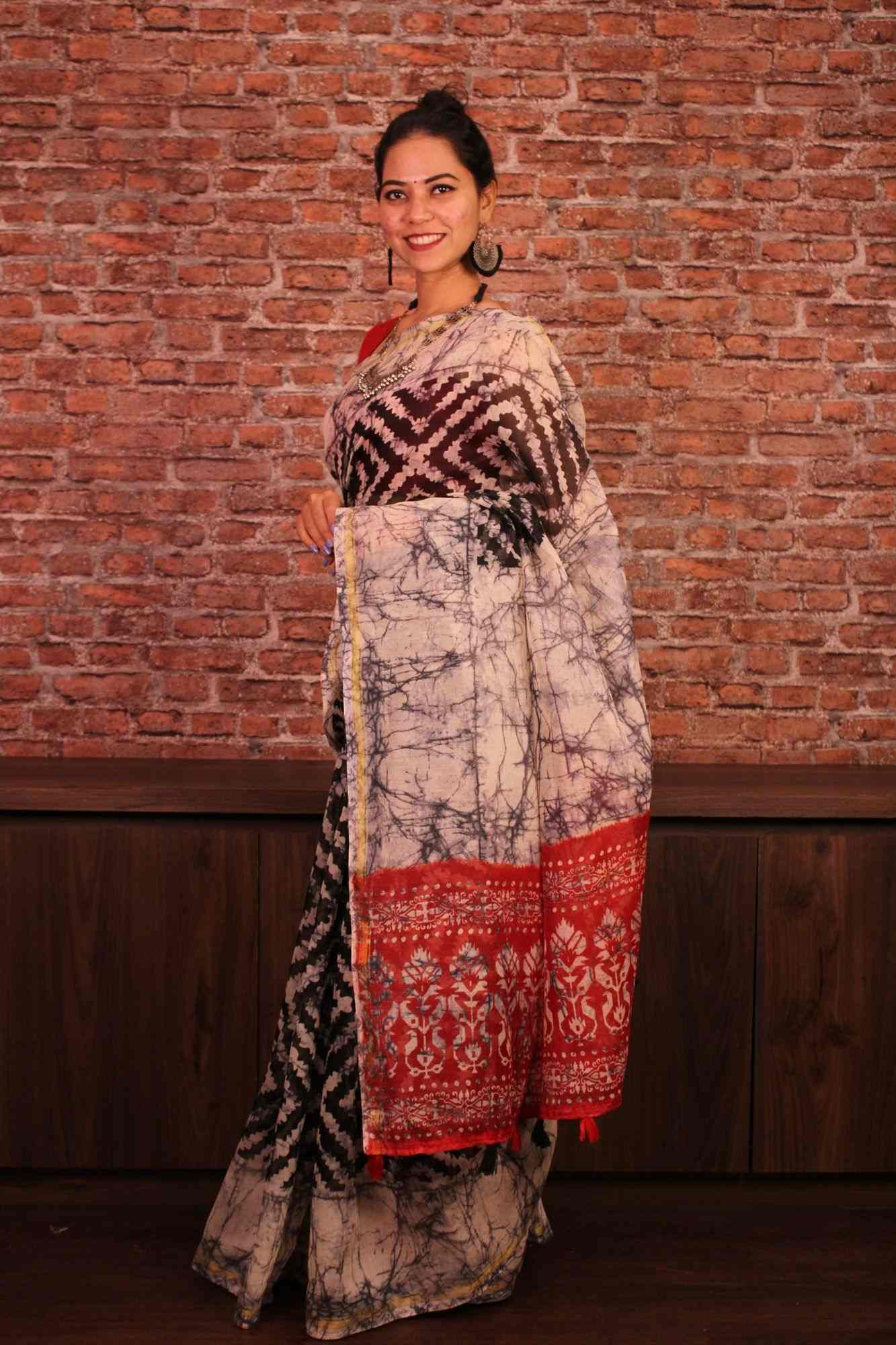 Floral satin printed wrap in 1 minute saree