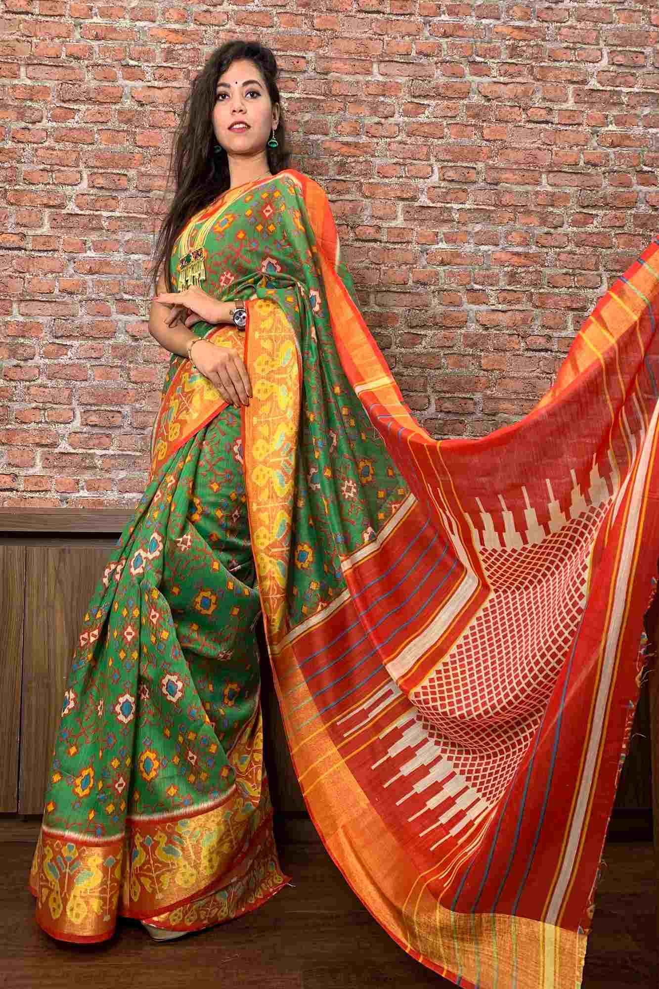Patola inspired linen cotton wrap in 1 minute saree