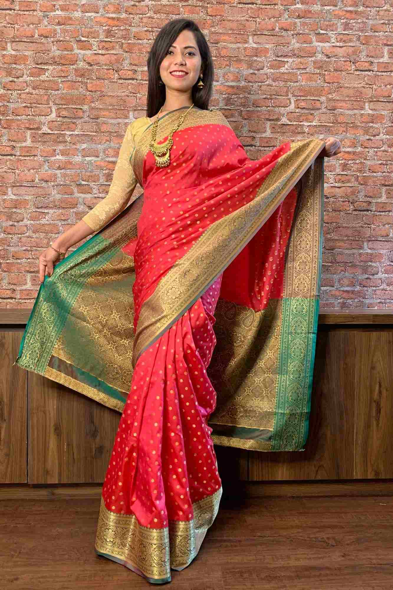 Kanjivaram jacquard design with golden butis wrap in 1 minute saree