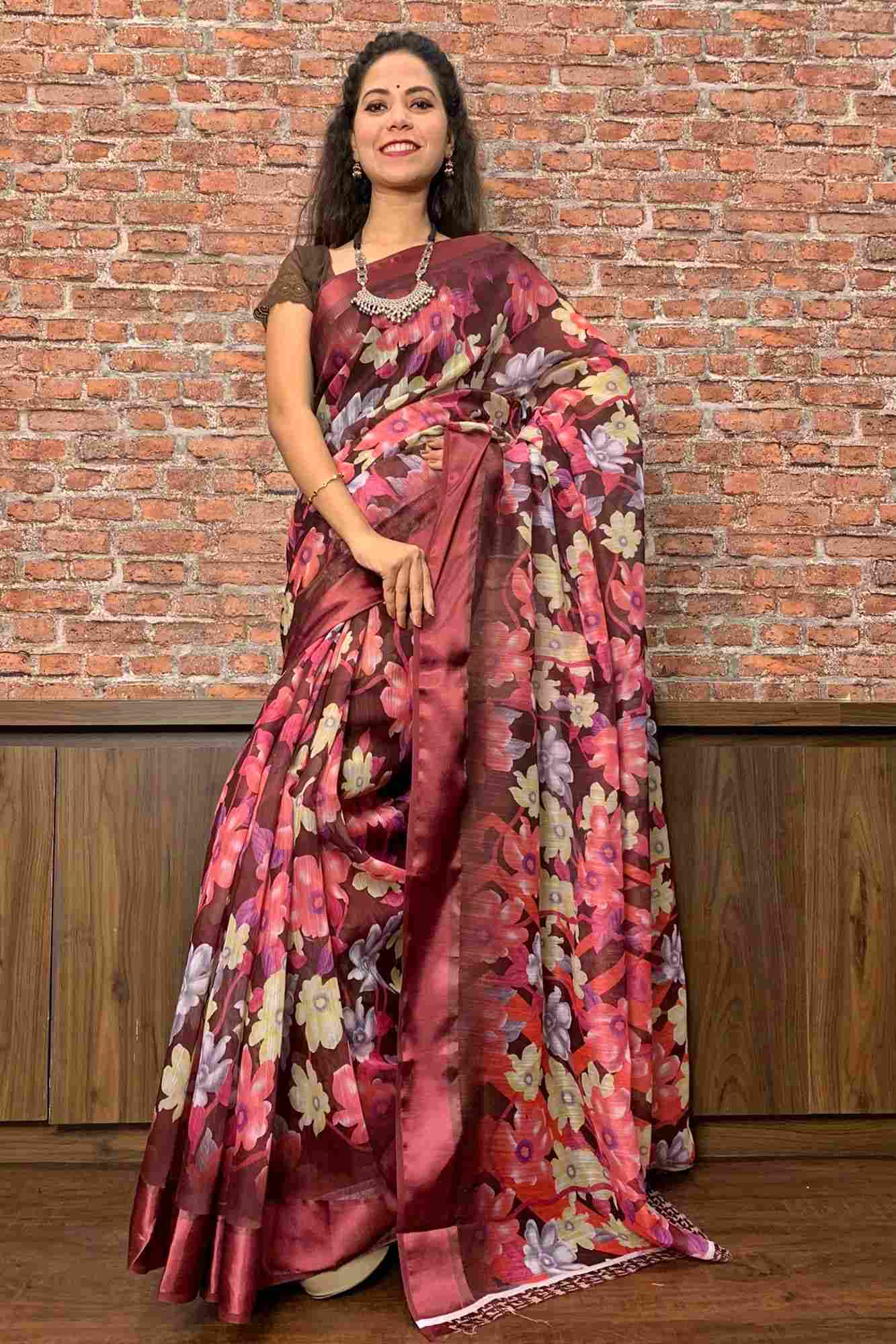 Dark Lotus Digital Linen ready pleated pre-stitched one minute sari saree