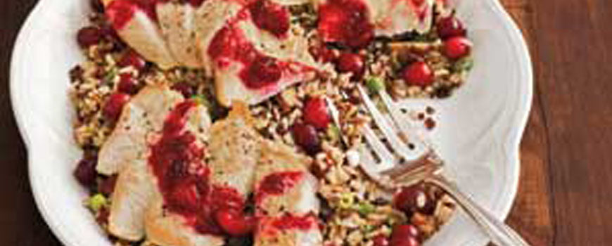 Cranberry Turkey Cutlets with Wild Rice and Chestnuts
