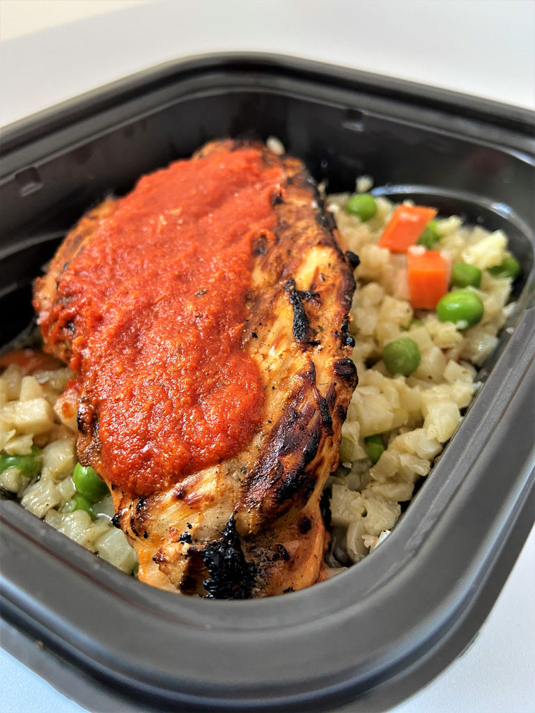 Barbecue Chicken over Cauliflower Rice with Peas and Carrots