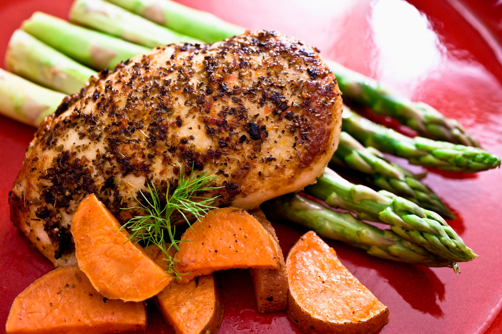 Grilled Chicken with Sweet Potatoes and Asparagus