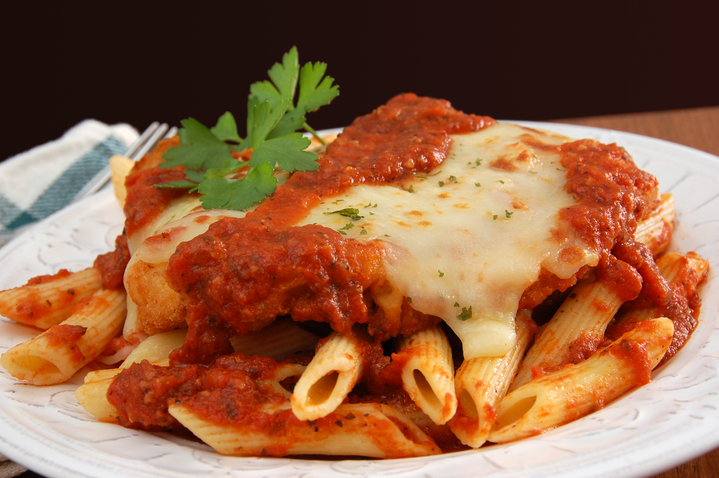 Grilled Chicken Parmigiana over Multi-Grain Pasta