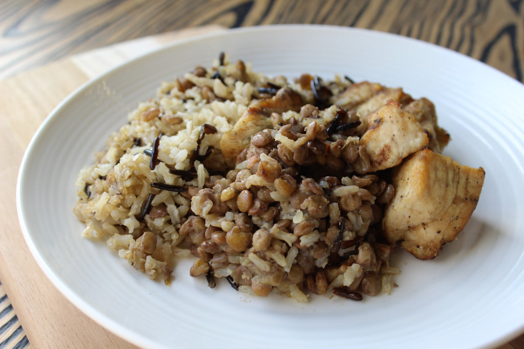 Grilled Chicken with Lentils and Wild Rice