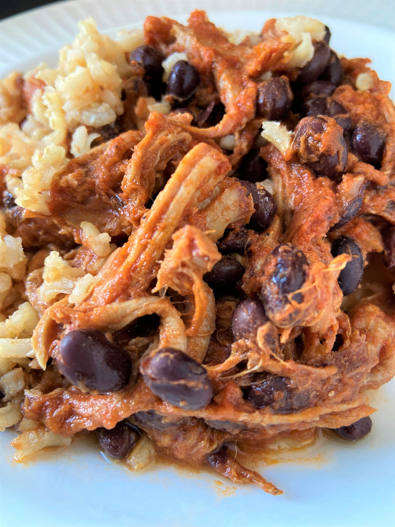 Pulled Pork over Brown Rice and Black Beans