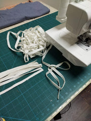 strips of fabric being sewn together