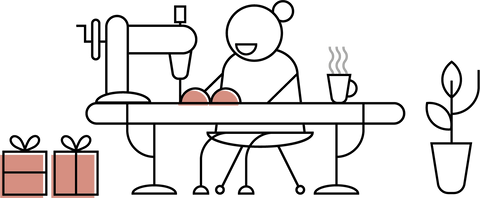 graphic of person happily sewing