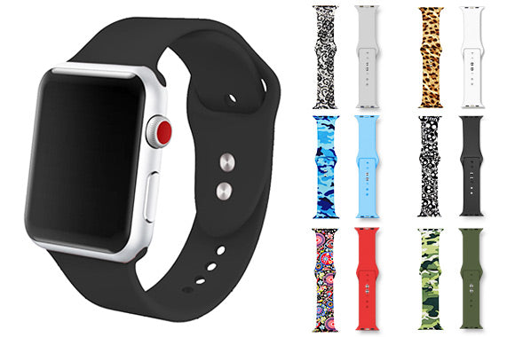Paquet de 2 bracelets de remplacement en silicone pour montre Apple Watch séries 1, 2, 3, 4 et 5 - Taxes incluses - 80% de rabais