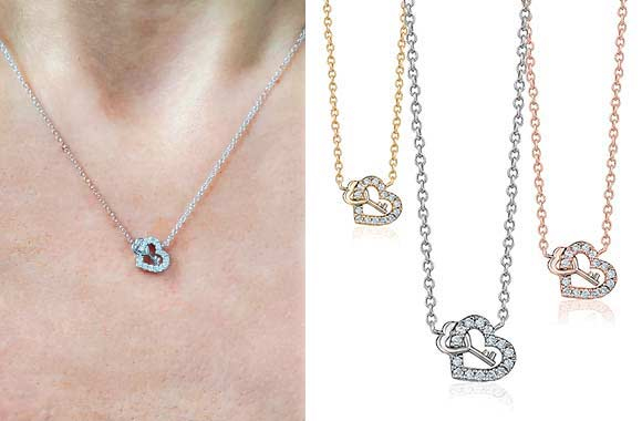 "Collier à diamants ""Clé de mon coeur"" en or - Taxes incluses - 62% de rabais"