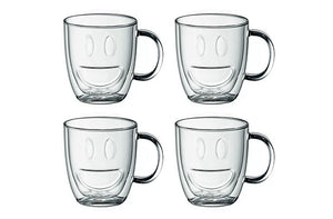 Ensemble de 4 tasses à double paroi Bonhomme Sourire de 350 ml par Brilliant - Taxes incluses - 42% de rabais