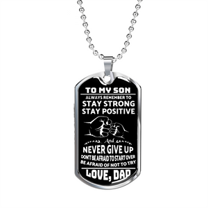 To My Son - Unique Dog Tag Luxury Military Necklace Gift For Son