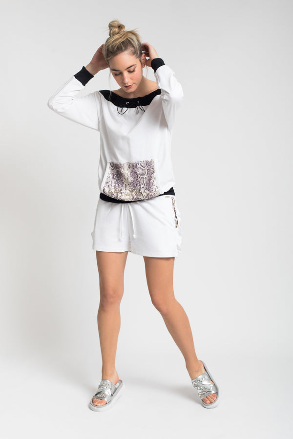 SWEAT BOLSO LANTEJOULAS WHITE