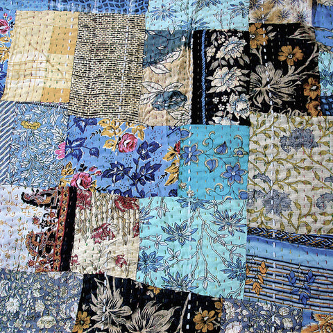 Blue Floral Patchwork Vintage Cotton Saris Quilt