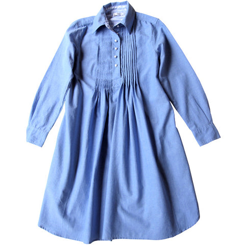Hombre Blue Shirt Dress with Pintucks
