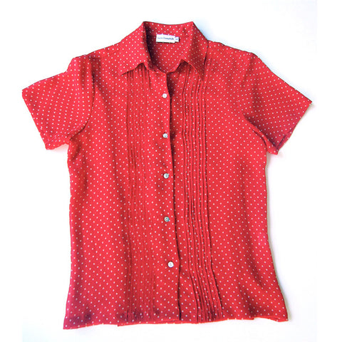 Red/Cream Dots Silk Blouse