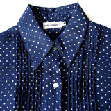 Navy/White Dots Silk Blouse