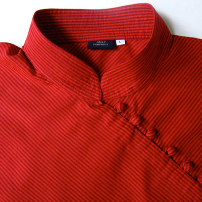Rust Red Stripe Bias Top
