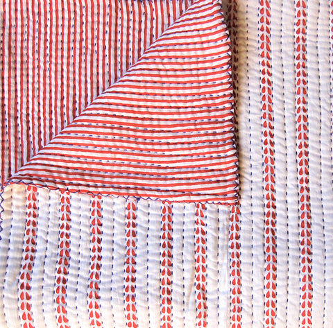 Red Stripe with Blue stitching Quilt