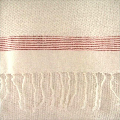 White Towel with Red / Blue Stripes