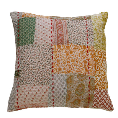 Geranium patchwork cushion