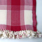 Single Ivory and Red throw