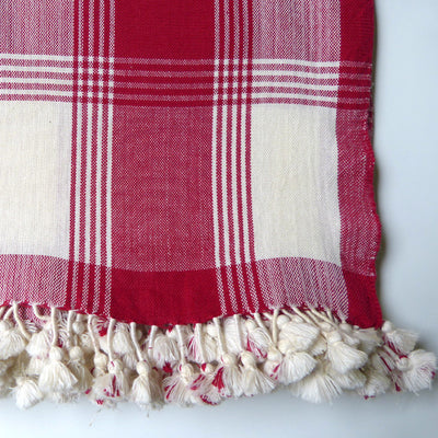 Ivory and Red tablecloth