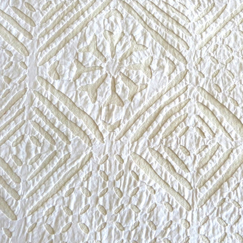 White on Cream Applique Bedcover