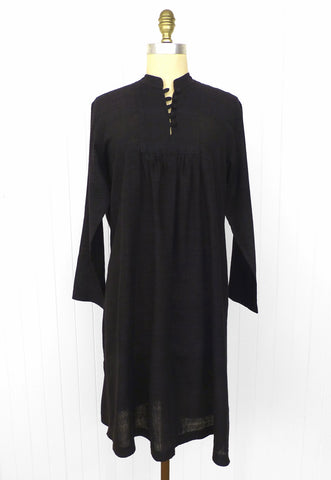 Black Silk Smock Dress