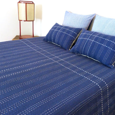 Indigo / White stitch quilt