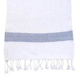 White Towel with Blue Stripe