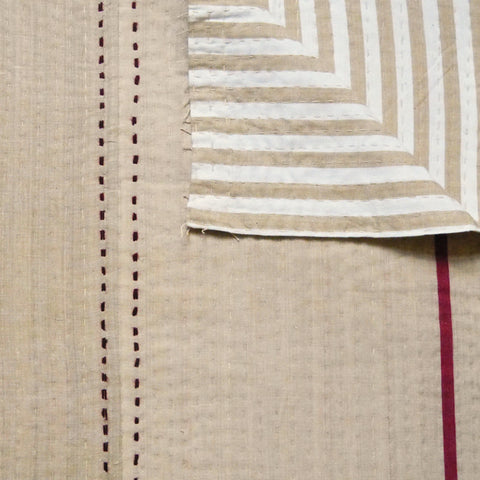 Tan with Burgundy Stripe Quilt