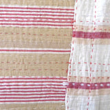 Tan with Red Ticking Quilt