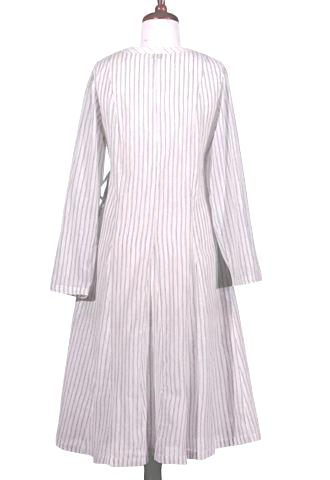 Ticking Wrap Round Coat Dress