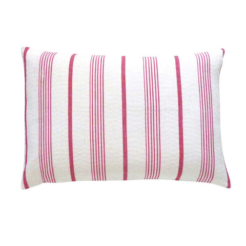 Stone and Red Ticking Cushion (2)