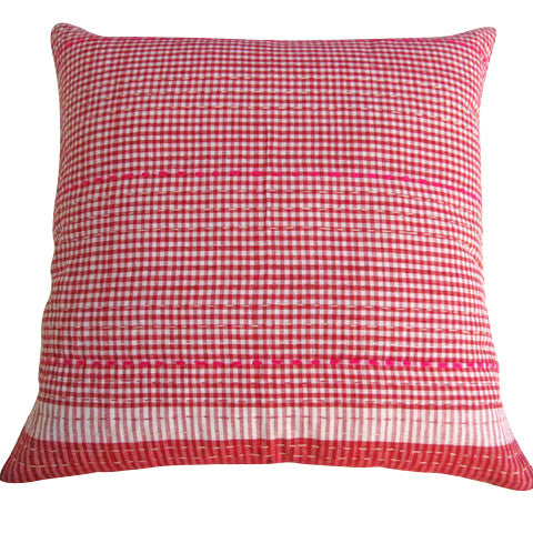 Red Check Cushion / Pink Stitching (1)