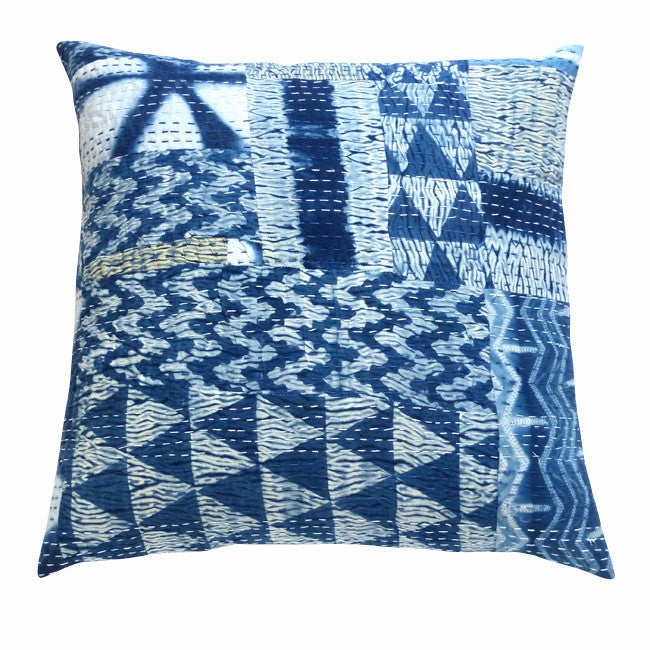 Indigo shibori patchwork cushion