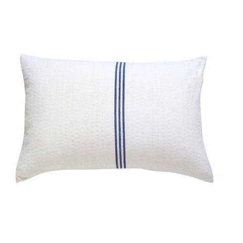 White with Navy Stripe Cushion