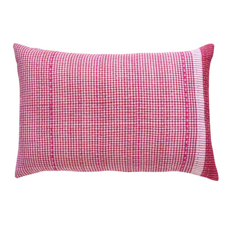 Red Check Cushion / Pink Stitching (2)